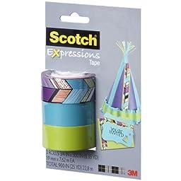 Scotch Expressions Magic Tape/ 3/4 x 300 Inches/ Tribal/ Blue/ Green/ 3-Rolls/Pack (C214-3PK-4)
