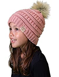 c58dcd3a6aa Kids Baby Toddler Cable Knit Children s Pom Winter Hat Beanie