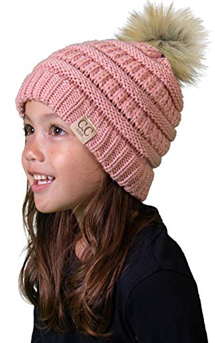 H-6847-4371 Kids Pom Beanie - Indi Pink (Faux Fur pom)