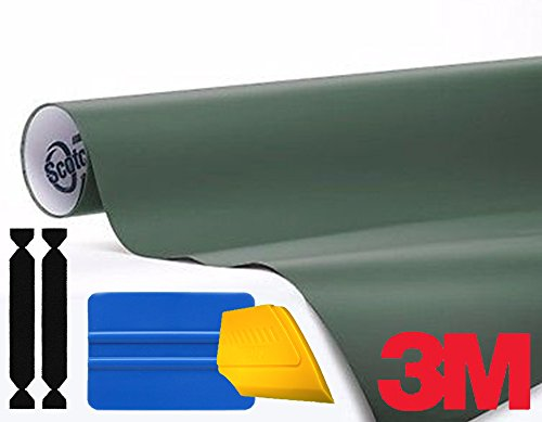 3M 1080 Matte Military Green Air-Release Vinyl Wrap Roll Including Toolkit (2ft x 5ft) ()