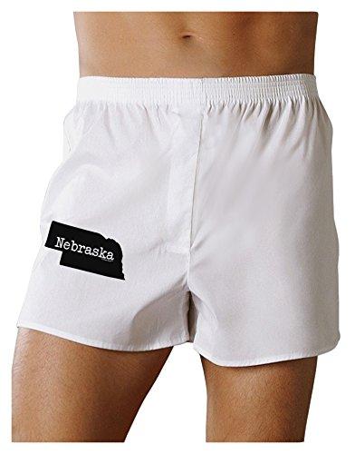 TooLoud Nebraska - United States Shape Boxers Shorts - White - (Nebraska Boxer)