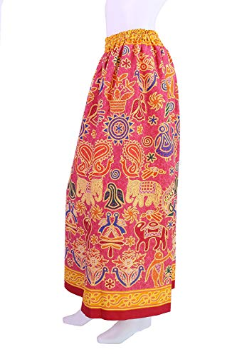 Printed Skirt Gypsy - VIDA Women's Bohemian Gypsy Flora Printed Design Long Skirt Vintage Style (Pink)