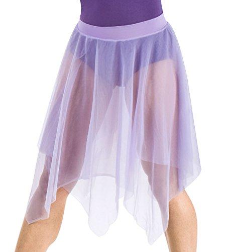 Body Wrappers Uneven Hem Double Layer Chiffon Skirt, Black, Small/Medium