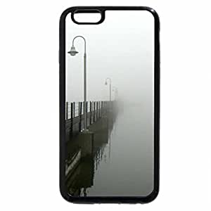 iPhone 6S / iPhone 6 Case (Black) fog barb wire water and light metal bridge lamp post