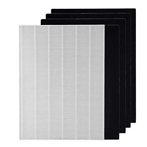 Sanyo Replacement Filter - GreenR3 1-PACK Air Purifier True HEPA Air Filter + 4 Replacement Carbon Filters for Fellowes HF-300 fits Fellowes AP300PH HF300 AeraMax 290300 DX95 Model Series Accessories Parts Number PN and more