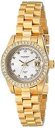 Akribos XXIV Women's AK489YG Diamond Quartz Gold-Tone Stainless Steel Bracelet Watch