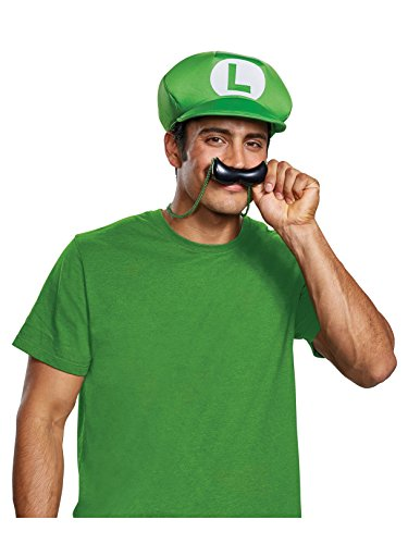 Disguise Men's New Luigi Hat & Mustache Necklace Costume Kit, Green One Size Adult ()