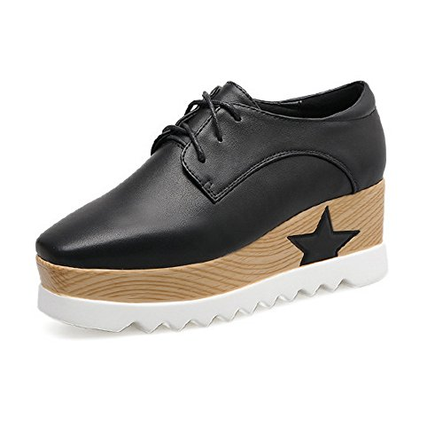 1TO9 1TO9 1TO9 Womens Wedges Platform Square-Toe Black Urethane Oxfords Shoes - 4.5 B(M) US B0752RGCDY Shoes f28be1