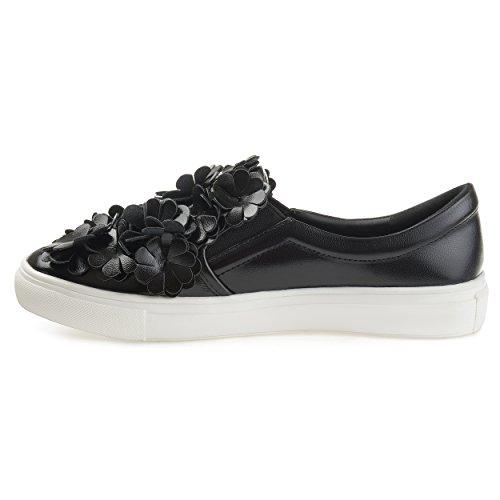 Brinley Co Kvinna Melor Konstläder Cascading 3d Blommor Slip-on Sneakers Svart