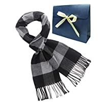 MissShorthair Mens Plaid Scarf Winter Long Scarves with Gift bag