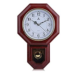 Chinese Style, Classic Round, Faux Wood Chime Wall Clock, with Pendulum Home Office, Schoolhouse Decoration