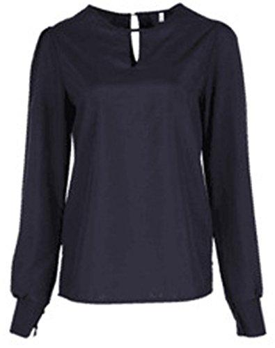 Lungo Rotondo Lunga Sottile Primavera Moda Shirt T Nero Manica Camicie Donna a Cavo Shirts Casual Collo Maglie Tops Blouse 7twx6H18qw