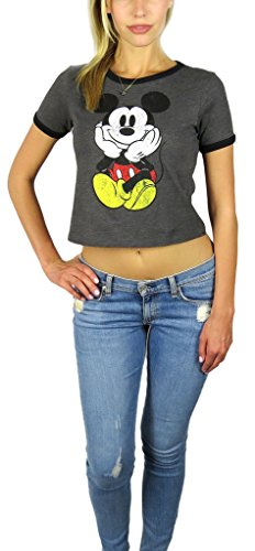 Disney Mickey Mouse Womens Ringer Crop Top Large Grey Heather -