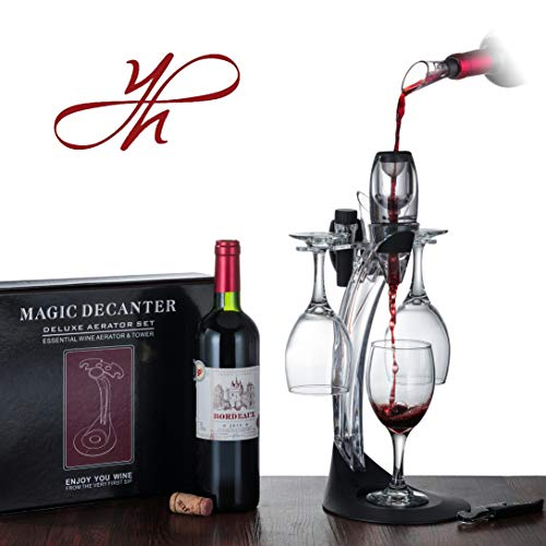 YouYah Wine Aerator Set 6-in-1, Red Wine Decanter with Aerator Wine Pourer, Foil Cutter, Bottle Stopper, Cork Opener, Stand and Wine Glass Holder, Wine Accessories, Wine Gift Set(Not Included Glasses)
