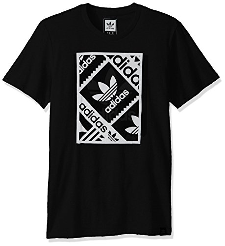 adidas Originals Men's Adidas Skateboarding Blackbird Tee, Multi Logo/Black/White, Small