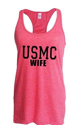 Artix Usmc Wife Proud Marine Corps Women Racerback Tank Clothes Medium Heather Fuchsia