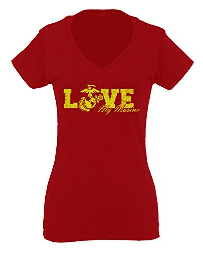 Love My Marine USMC United States of America USA American Mother Gift for Women V Neck Fitted T Shirt (Red, Small)