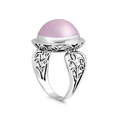 .925 Sterling Silver Fleur-de-lis Inspired Simulated Pink Mabe Pearl Ring Pink Mabe Pearl Ring
