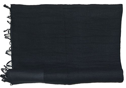 - Handcrafted Twill Weave Linen Fabric Gauze Scarf, (Black). X2270