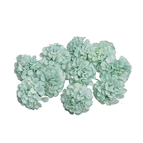 10Pcs 4.5CM Silk Hydrangea Handmade Artificial Flower Head Wedding Party Home Decoration DIY Wreath Gift Box Scrapbook Craft Tiffany Blue]()