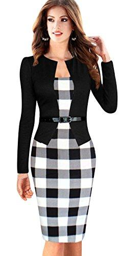Cinturón Negro Mujer Vestido Cuadrícula Collar Faux Redondo Keral Manga Largo qCvPUUw