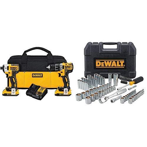 DEWALT DCK283D2 20V MAX XR Compact Cordless Drill/Driver & Impact Driver Combo Kit with DWMT81531 84Pc Mechanics Tool Set