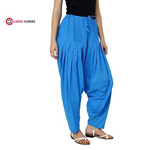 CLASSIC CURVES Women's Patiala Salwar Cotton Plain Trouser Free Size Blue Salwar (Trouser Kameez)