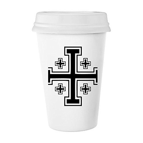 Religion Christianity Belief Church Black White Holy Crosses Culture Design Art Illustration Pattern Classic Mug White Pottery Ceramic Cup Milk Coffee Cup 350 ml by DIYthinker