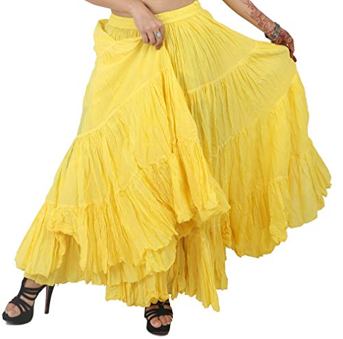 Wevez Women's Gypsy 25 Yard Solid Color Cotton Skirt, One Size, Gold