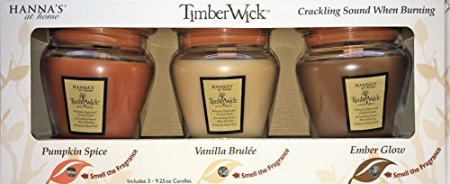 Hanna's 9.25 oz TimberWick Nature's Glow Scented Wooden Wick Candle Trio in a Jar . Natural Crackling Sound when Burning. Comes with 3 Soothing Fragrances - Pumpkin Spice, Vanilla Brûlée, Ember Glow. (Spirit Halloween Promo Codes)