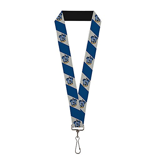 (Buckle-Down Men's Lanyard-Harry Potter, Ravenclaw Crest Diagonal Stripe Gray/Blue, Standard)