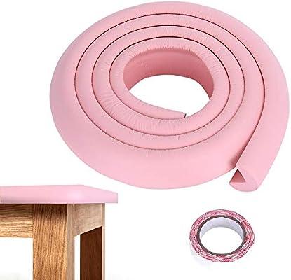 Tira de parachoques de goma de la seguridad del bebé de los niños, protector de barra anticolisión seguro del guardia de la esquina del borde de la tabla de los 2M protectores(rosa):
