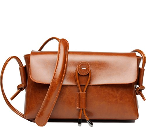 Covelin Women's Fashion Handbag Genuine Leather Envelope Crossbody Shoulder Bag Brown (Purse Crossing Bag)