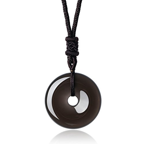 AmorWing Adjustable Round Donut Black Obsidian Pendant Grounding Stone Protection Necklace