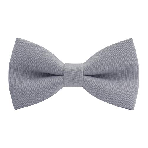 (Classic Pre-Tied Bow Tie Formal Solid Tuxedo, by Bow Tie House (Large, Cloud Grey))