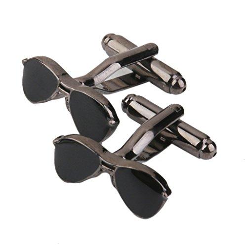 1 Paire Boutons de Manchette Forme de Lunettes Bijoux Homme - Noir