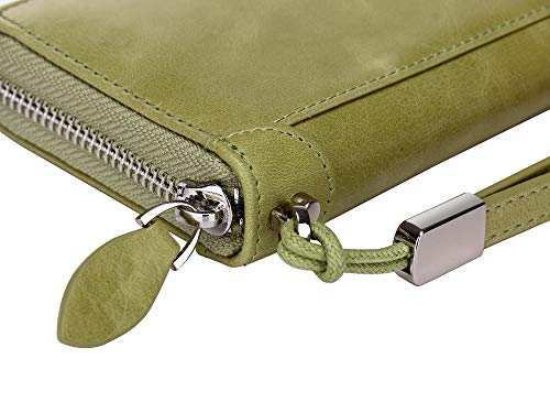 Women Leather Wallet Rfid Blocking Large Capacity Zipper Around Travel Wristlet Bags (Palm Green) by Doris&Jacky (Image #6)