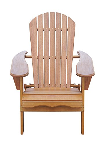 Solid Eucalyptus Wood Foldable Adirondack Chair Outdoor With Pullout  Ottoman Footstool Footrest In Natural Color.