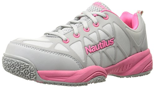 Grey Action Leather (Nautilus 2155 Women's Comp Toe Light Weight Slip Resistant Safety Toe Athletic Shoe, Grey, 9.5 M US)