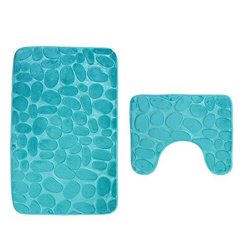 certainPL Cobblestone Bathroom Rug Mats - Set of 2 - Polyester Shower Bath Rugs Contour Mat - Household Supplies (Green) -
