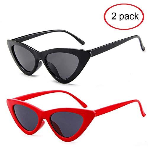 (Cat Eye Sunglasses for Women Narrow Vintage Cateye Sun Glasses Plastic Frame 2)