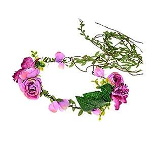 DDazzling Lily Flower Crown Tieback Halo Flower Crown Headband Photo Props (Purple) 65