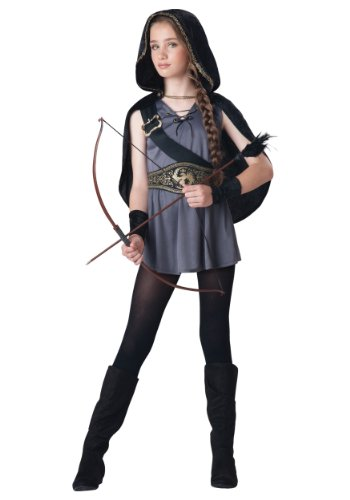 InCharacter Costumes Tween Kids Hooded Huntress Costume, Grey/Black, S (8-10) -