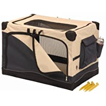 Precision Pet Soft Side Pet Crate4000, 36-Inch x 24-Inch x 23-Inch, Navy Tan
