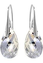 Sterling Silver Moonlight Made with Swarovski Crystals Drop Pierced Shepherds Hook Earrings