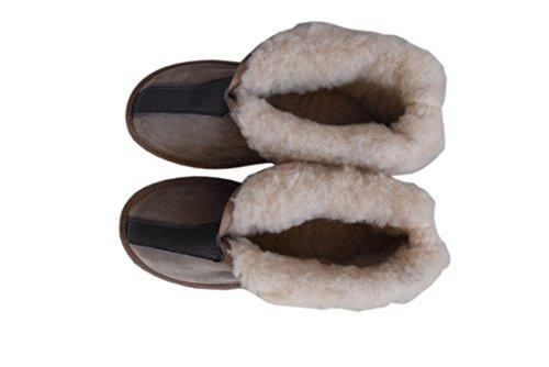 Natural Unisex Schafwolle 3 Herren Gray Stiefel Hausschuhe Ausgekleidet Damen Leder 2 12 und Größe Suede AqUwqB