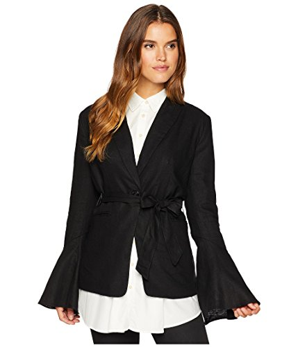 Free People Womens Linen Blend Bell Sleeves One-Button Blazer Black S