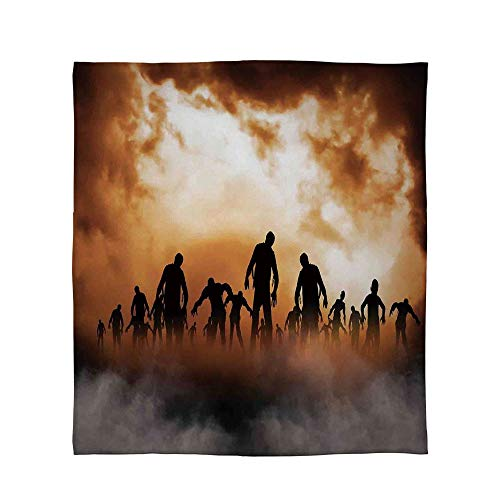 YOLIYANA Lightweight Blanket,Halloween Decorations,for Bed Couch Chair Fall Winter Spring Living Room,Size Throw/Twin/Queen/King,Zombies Dead Men Body in The Doom