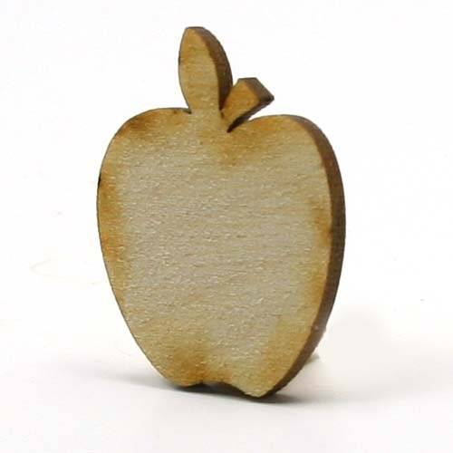 - Mylittlewoodshop Pkg of 6 - Apple - 2 inches tall by 1.6 inches wide and 1/8 inch thick unfinished wood (LC-APPL04-6)