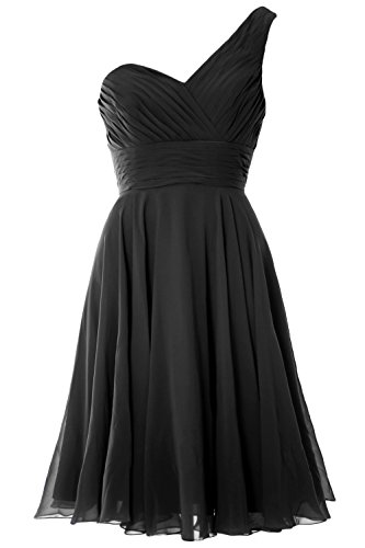 MACloth Women One Shoulder Short Bridesmaid Dress Wedding Party Evening Gown Negro